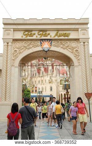 Sentosa, Sg - April 5 - Universal Studios Singapore Far Far Away Shrek Theme Arch On April 5, 2012 I