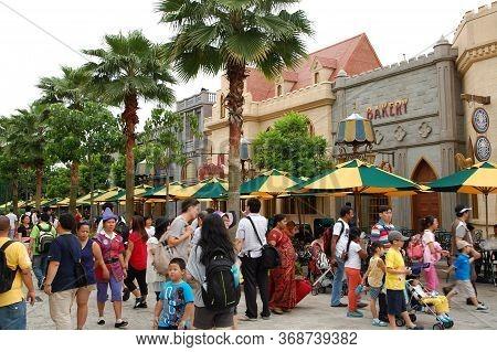 Sentosa, Sg - April 5 - Universal Studios Singapore Far Far Away Shrek Theme Buildings On April 5, 2