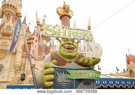 Sentosa, Sg - April 5 - Universal Studios Singapore Far Far Away Shrek Theme Castle Facade On April