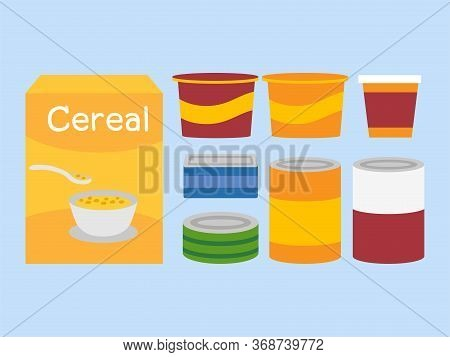 Set Of Canned Food And Cereal Box