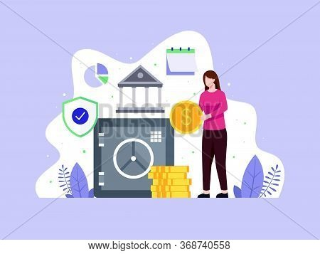 Vector Illustration Woman Brings Coins To A Safe. Closed Bank Safe, Dollars In A Deposit Box. Concep