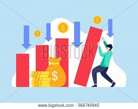 Bankruptcy Vector Illustration. Man Holds Back A Collapsing Bar Graph. Economical Loan Payback Probl