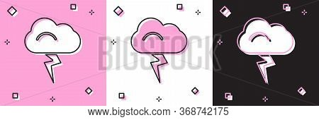 Set Storm Icon Isolated On Pink And White, Black Background. Cloud And Lightning Sign. Weather Icon