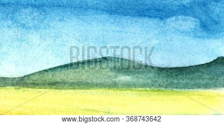 Abstract Watercolor Background. Wide Horizontal Stripes Of Yellow, Green And Blue Colors. Hand Drawn