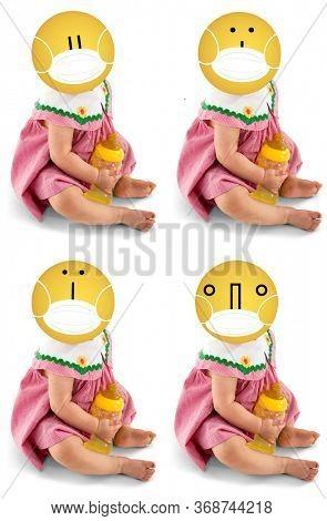 Emoji Baby with Bottle Wearing Face Mask. Keyboard shortcut faces.