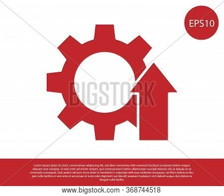 Red Arrow Growth Gear Business Icon Isolated On White Background. Productivity Icon. Vector Illustra