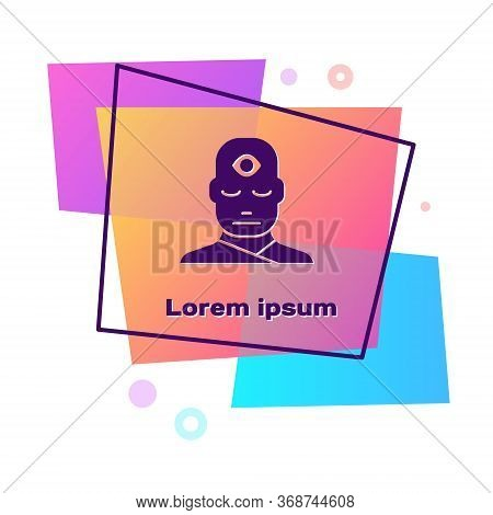 Purple Man With Third Eye Icon Isolated On White Background. The Concept Of Meditation, Vision Of En