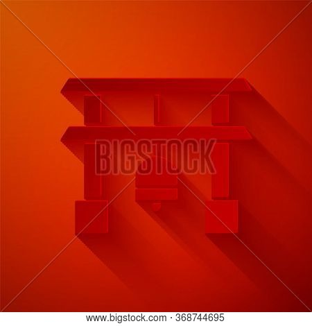Paper Cut Japan Gate Icon Isolated On Red Background. Torii Gate Sign. Japanese Traditional Classic