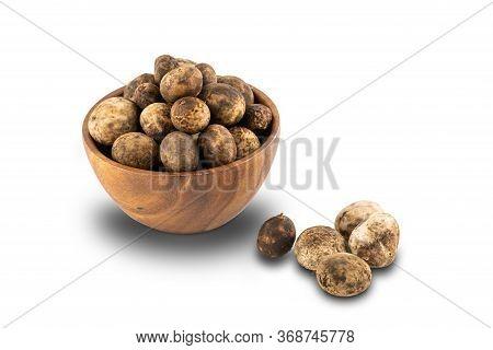 Mushroom Hygroscopic Earthstar Or False Earthstar Or Barometer Earthstar In A Wooden Bowl On White B