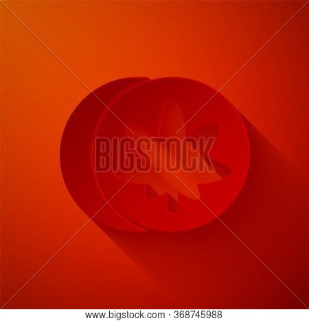 Paper Cut Herbal Ecstasy Tablets Icon Isolated On Red Background. Paper Art Style. Vector Illustrati