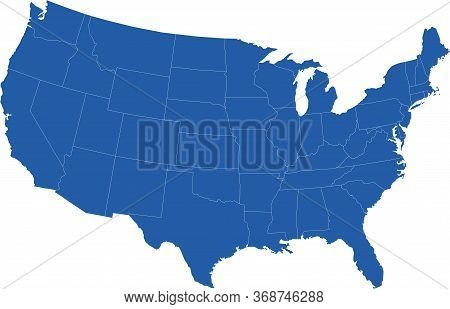 United States Usa Continental Vector Map With White Borders