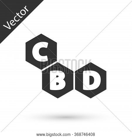 Grey Cannabis Molecule Icon Isolated On White Background. Cannabidiol Molecular Structures, Thc And