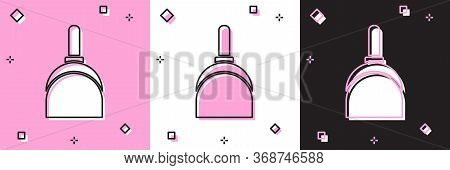 Set Dustpan Icon Isolated On Pink And White, Black Background. Cleaning Scoop Services. Vector Illus