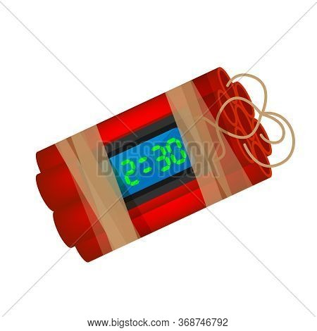 Blast Terrorist Bomb Isolated On White, Explode A Bomb Dynamite With Clock Dial, Red Bomb Drop And E