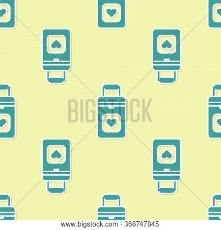 Green Cooler Box For Human Organs Transportation Icon Isolated Seamless Pattern On Yellow Background