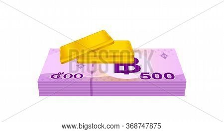 Gold Bars And Stack Thai Money, Gold Bullion And Banknote Thb Of Thailand, Financial Business And Sa