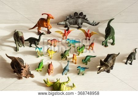 Cheboksary, Chuvashia/ Russia - June 15 2019: Plastic Dinosaur Figures Of Extinct Ancient Creatures