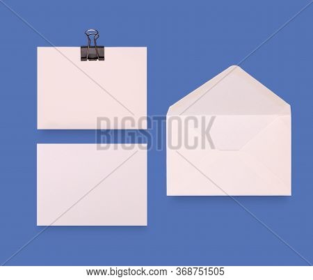 Business Card Mockup Concept On Light Blue Background