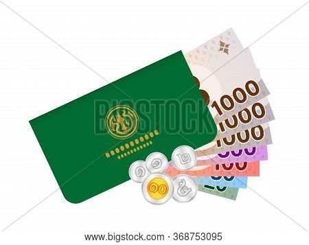 Passbook And Thai Baht Money Banknote For Farmer, Bankbook Farmer And Bank Note Money Thai Baht, Far