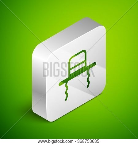 Isometric Line Orthodox Jewish Hat With Sidelocks Icon Isolated On Green Background. Jewish Men In T