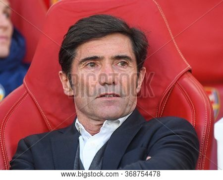 London, England - May 2, 2019: Valencia Head Coach Marcelino Garcia Toral Pictured Ahead Of The Firs