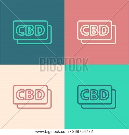 Pop Art Line Cannabis Molecule Icon Isolated On Color Background. Cannabidiol Molecular Structures,
