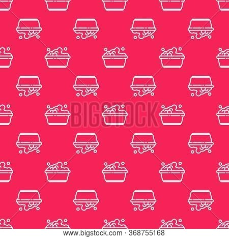 White Line Plastic Basin With Soap Suds Icon Isolated Seamless Pattern On Red Background. Bowl With
