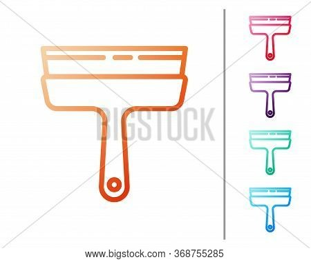 Red Line Cleaning Service With Of Rubber Cleaner For Windows Icon Isolated On White Background. Sque