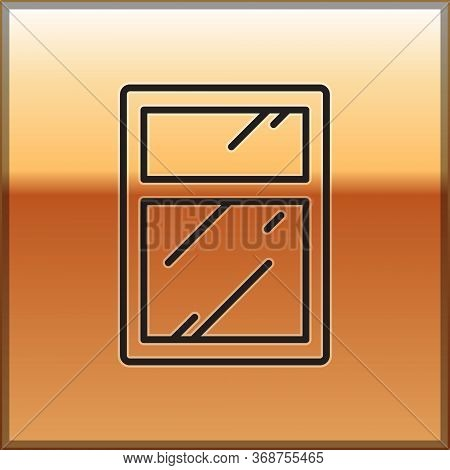 Black Line Cleaning Service For Windows Icon Isolated On Gold Background. Squeegee, Scraper, Wiper.