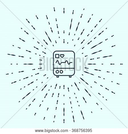 Black Line Computer Monitor With Cardiogram Icon Isolated On Grey Background. Monitoring Icon. Ecg M