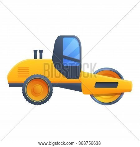 Vehicle Road Roller Icon. Cartoon Of Vehicle Road Roller Vector Icon For Web Design Isolated On Whit