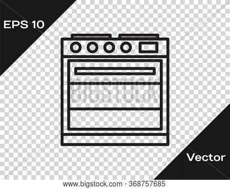 Black Line Oven Icon Isolated On Transparent Background. Stove Gas Oven Sign. Vector Illustration.
