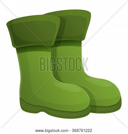 Fisherman Boots Icon. Cartoon Of Fisherman Boots Vector Icon For Web Design Isolated On White Backgr