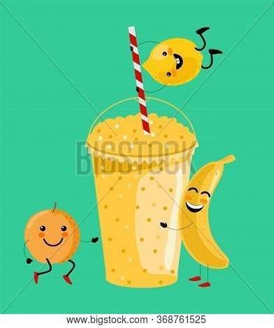 Yellow Banana, Orange, Lemon Smoothie Vitamin Drink Vector Illustration. Cute Cartoon Fruits With Mu