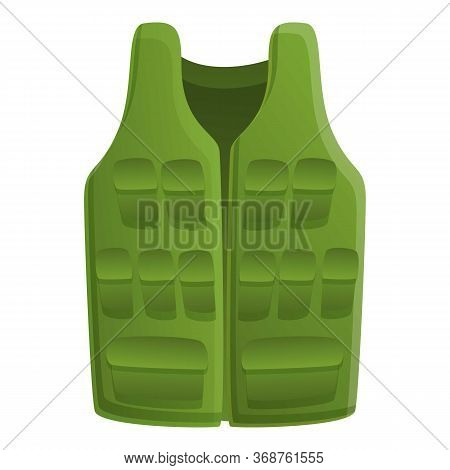 Fisherman Vest Icon. Cartoon Of Fisherman Vest Vector Icon For Web Design Isolated On White Backgrou