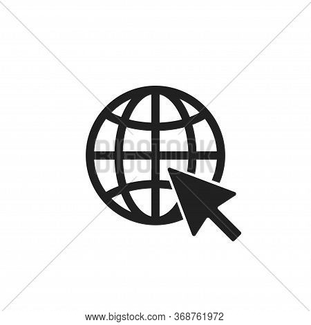 Global Social Network Isolated Icon. Web Element In Flat, Vector