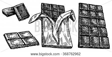 Hand Drawn Set Of Chocolate. Hand Drawn Chocolate Bar Broken Into Pieces, Appetizing Realistic Drawi