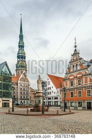 Town Hall Square With House Of The Blackheads And St. Peter Church, Riga, Lanvia