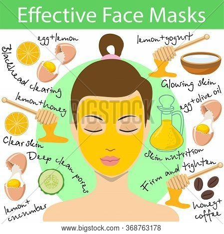 Recipes For Effective Homemade Face Masks. Ingredients For A Natural Cosmetic Mask. Vector Illustrat