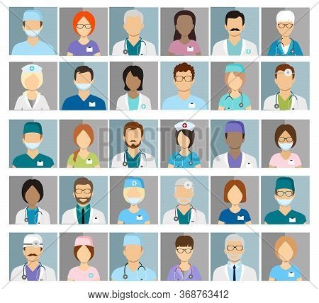 Doctors And Nurses Profile Vector Icons. Surgeon And Therapist, Oculist And Nutritionist Avatars