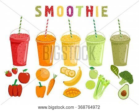 Smoothie Fruits And Vegetables. Cartoon Smoothies In A Flat Style. Orange, Strawberry, Berry, Banana