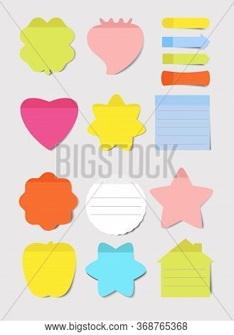 Sticky Notes. Vector Illustrations Set. Notepad Blank Paper Sheet For Planning And Scheduling. Round