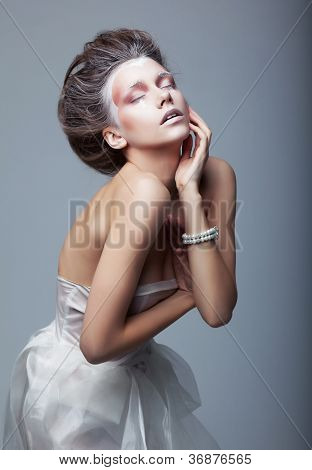 Performance. Active Cute Woman Acting. Creative Makeup