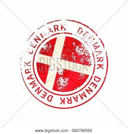 Denmark Sign, Vintage Grunge Imprint With Flag On White