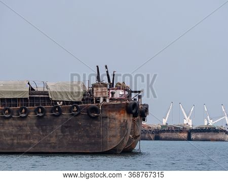 Five Empty Barges Moored At Ko Sichang Off The Coast Of Chonburi Province In Thailand.