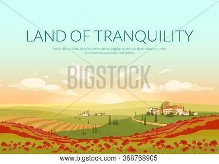 Land Of Tranquillity Poster Flat Vector Template. Italian Village Landscape Brochure, Booklet One Pa