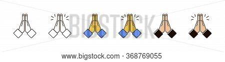 Hand Pray Symbol. Folded Hands Vector Icon. Vector