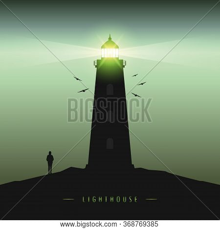 Lonely Girl By The Lighthouse In The Dark Creepy Landscape Vector Illustration Eps10