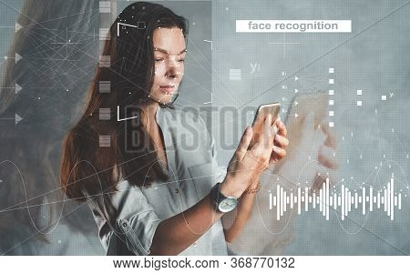 Face And Voice Recognition, Concept. Personal Identification In A Smartphone, Modern Technologies. I