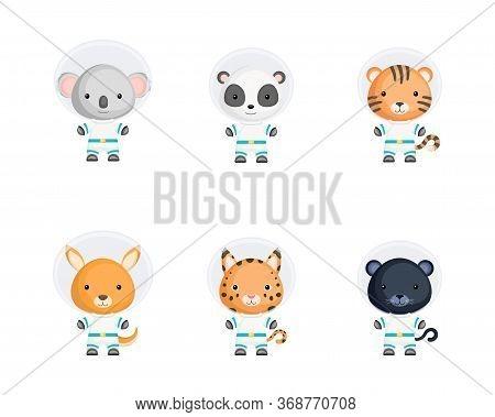 Set Of Cute Spacemen Wild Animals. Animals Characters For Design Of Album, Scrapbook, Card, Poster,